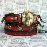 Leather Wrap Watch, Antique brass Womens leather watch, Bracelet Watch, Red and Black Wrist Watch