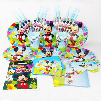 92pcs Mickey Mouse   kids happy birthday party decoration plate cup straw napkins loot bags for 12 people party supplie
