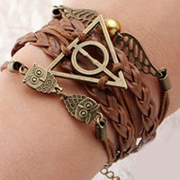 "Multi Row Leatherette Wrap Bracelet - ""Harry Potter-The Deathly Hallows"""