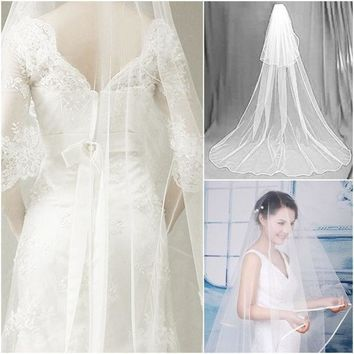 2014 White 2.7m Floor Longth Bridal Veils 1 Tier Layer Elegant Wedding Accessories Dress Bride Cathedral Chapel = 1929653572