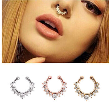 Fake Septum Ring with Sparkling Crystals + Gift Box