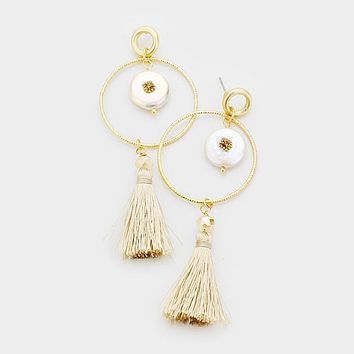 Mother Of Pearl Tassel Drop Earrings