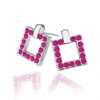 18K White Gold Square Stud Earrings Covered with Coral Jewels Made with Swarovksi Elements