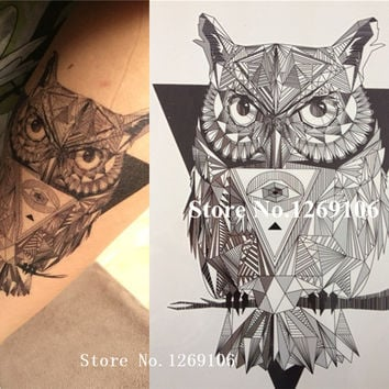 NEW Simple Design Black and White OWL 21 X 15 CM Sized Sexy Cool Beauty Tattoo Waterproof Hot Temporary Tattoo Stickers#88
