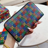 GUCCI Pop Candy Series Fashion Women Men Leather Zipper Wallet Purse