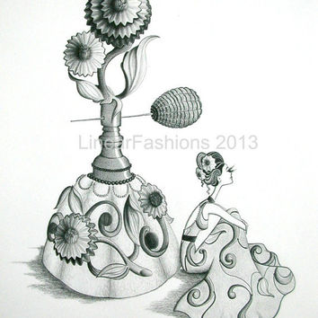 Giclee Print Perfume Bottle Flower Fashion Art Boho Spring Summer Decor Limited Edition