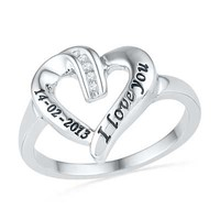 Diamond Accent Heart Promise Ring in Sterling Silver (2 Lines)