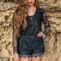 Laced Romper - Black