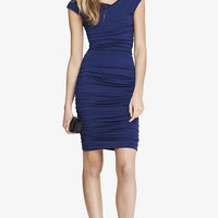 BLUE SURPLICE WRAP RUCHED JERSEY MIDI DRESS from EXPRESS