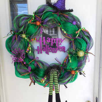 Halloween Deco Mesh Purple & Green Witch Wreath