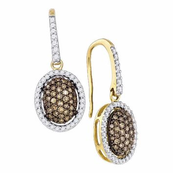 10kt Yellow Gold Women's Cognac-brown Color Enhanced Diamond Dangle Earrings 3-4 Cttw - FREE Shipping (US/CAN)
