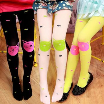 Fashion New Spring Girl Candy Colored Velvet Pantyhose Thin Children Tights Super Soft and Lovely Cartoon Cat Fish Tights