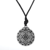 Sri Yantra for Growth and Healing Amulet Wealth Goddess Talisman Pendant Tantric Yoga Hindi Men Leather Cord Necklace Jewelry