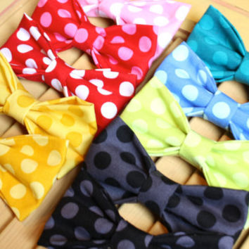 Polka Dot Boy's Bow Ties - Clip On Bowtie - QUICK SHIP - EtsyKids Team - Wedding Ring Bearer Photo Prop - Red Pink Blue Green Yellow Black