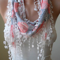 White Grey and Pink Scarf with Trim Edge - For Summer