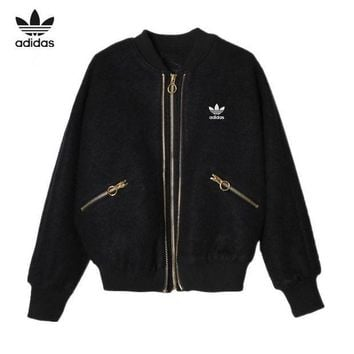 ESBON Adidas' Women Casual Fashion Embroidery Sequin Wing Long Sleeve Zip Cardigan Woolen Jacket Coat