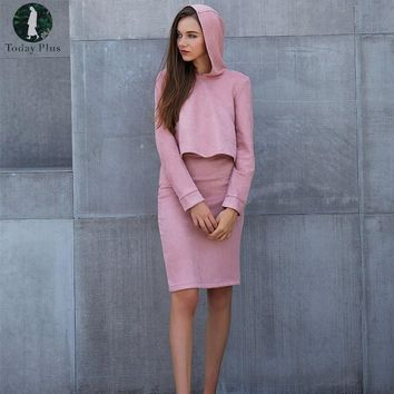 2017 Pink Suede Womens Sets Two Piece Sets Hooded Sweater Plus High Waist Pencil Skirt Long Sleeve Casual Women's Sets
