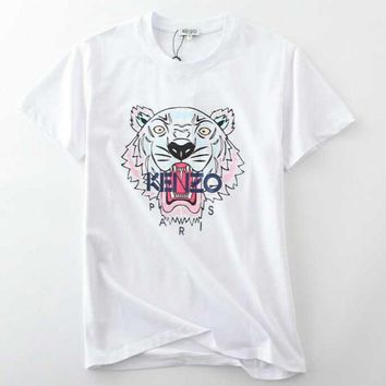 KENZO Fashion Casual Embroider Tiger Short Sleeve Round Neck T-Shirt White
