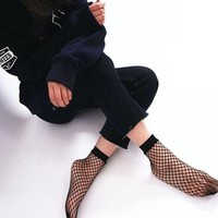LMFG8W 2017 Spring Summer Women's Fashion Fish Net Socks Black Holow Out Socks