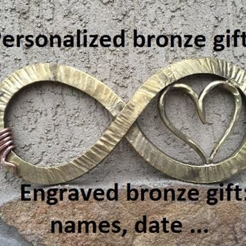Bronze gift, bronze infinity sign, bronze gift for wife, bronze gift for women, bronze gift for her, 8th anniversary gift,bronze anniversary