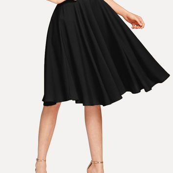 Black High Rise Wide Waistband Circle Skirt