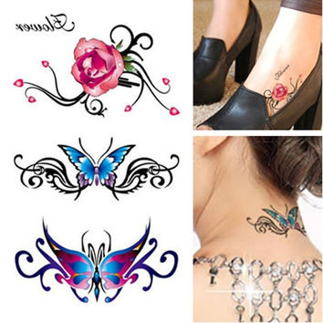 2 Sheets (6 Tattoos) 3D Butterfly & Flower