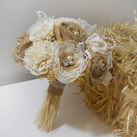 Rustic Shabby Chic Bouquet with Burlap, Sola, Rhinestone & Pearl, Rustic, Country, Shabby Chic, Style Weddings. Made to Order.