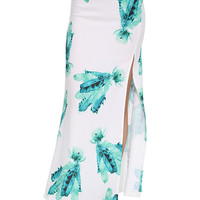 White Feather Printed Long Skirt with Side Slit