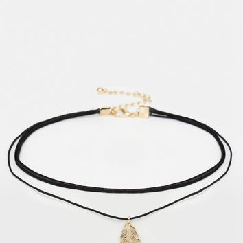ASOS Multirow Feather Choker Necklace at asos.com