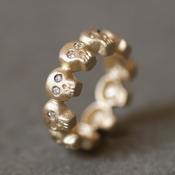 Baby Skull Band Ring in 14K Gold with Diamonds UNISEX