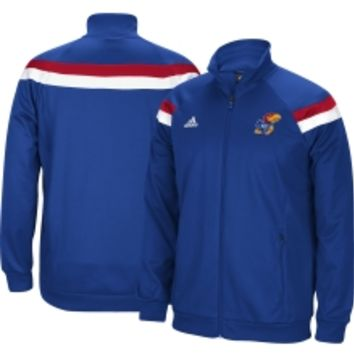 adidas Men's Kansas Jayhawks Blue On-Court Shooter Quarter-Zip Basketball Jacket | DICK'S Sporting Goods