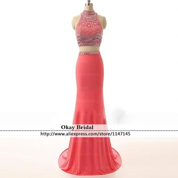 Sexy Halter 2 Piece Prom Dresses 2016 Backless Pink vestidos de formatura  Sleeveless Sweep Train Rhinestone Mermaid Prom Dress