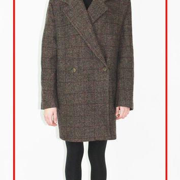 vtg blazer overcoat tweed like structured coat dark brown wool subtle pattern new minimalism large lrg l free US shipping