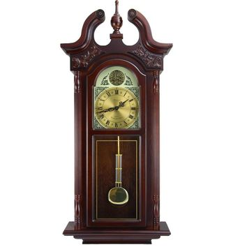 Bedford Clock Collection 38Grand Antique Colonial Chiming Wall Clock with Roman Numerals in a Cherry Oak Finish
