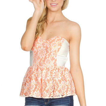 Floral Embroidered  Sweetheart Neckline Peplum Top