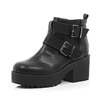 River Island Womens Black buckle trim chunky sole ankle boots