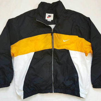 NIKE SPELLOUT lined winbreaker jacket XXL vintage 90s colorblock yellow black white air jordan force flight dunk sb 80s