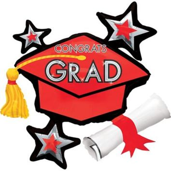 Graduation Balloon - Red Star Graduation Cap 40in x 31in | Party City
