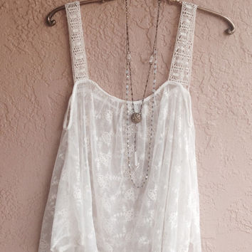 White Sheer embroidered Bohemian festival top with wide crochet straps and full cape bodice for dancing in the summer sun...twirling!!!
