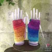 Crochet Rainbow Arm/Hand Warmers~Ready to Ship~FREE SHIPPING