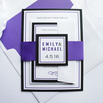Purple and Black Wedding Invitation - SAMPLE SET