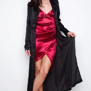 Top Notch Satin Trench Coat - Black