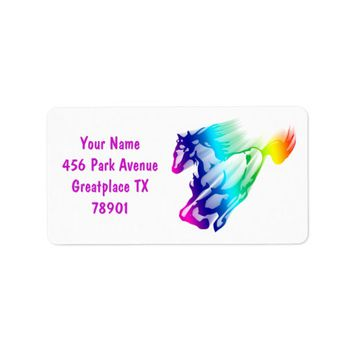 Running Rainbow Horse With Motion Trail Label