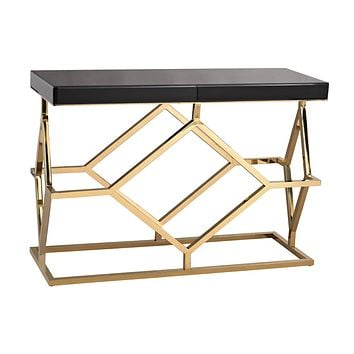 1114-169 Deco Console Table In Black And Gold - Free Shipping!