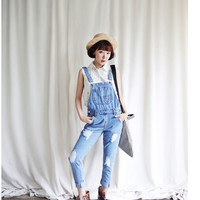 Ripped Thin Denim Overalls