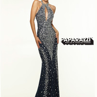 Halter Beaded With Razor Back Paparazzi Prom Dress By Mori Lee 97106
