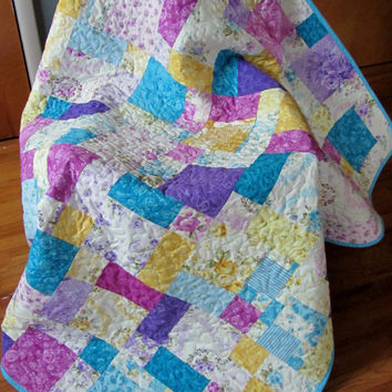 Patchwork Quilt, Floral Cottage Chic Quilt, Twin/Full Quilt Pink Teal Purple
