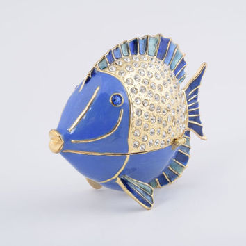 Golden Blue Fish Faberge Styled Trinket Box Decorated with Swarovski Crystals Handmade by Keren Kopal