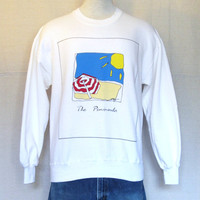 Vintage 80s PENNISULA BEACH GRAPHIC Surf Summer White Soft Medium Jumper Sweater 50/50 Crewneck Sweatshirt