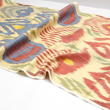 ikat, table runner, fabric by the yard, ikat fabric, red, cream, blue, design, interior, home decor, make curtians, dress, handwoven
